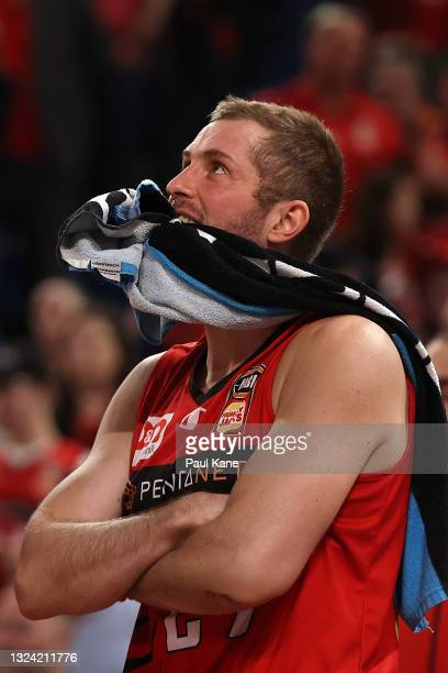 Jesse Wagstaff of the Wildcats looks on from the bench during game one of the NBL Grand Final Series between the Perth Wildcats and Melbourne United...