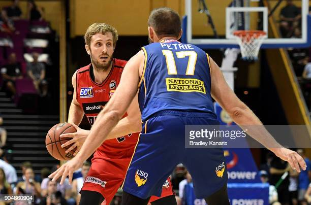 Jesse Wagstaff of the Wildcats looks to pass during the round 14 NBL match between the Brisbane Bullets and the Perth Glory at Brisbane Convention...