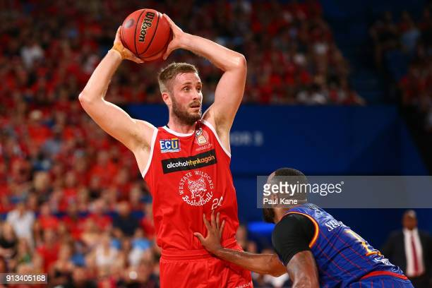 Jesse Wagstaff of the Wildcats looks to pass the ball during the round 17 NBL match between the Perth Wildcats and the Adelaide 36ers at Perth Arena...