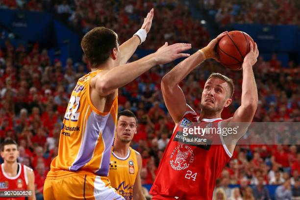 Jesse Wagstaff of the Wildcats looks to put a shot up against Dane Pineau of the Kings during the round 15 NBL match between the Perth Wildcats and...
