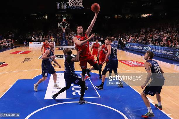 Jesse Wagstaff of the Wildcats puits a shot up during game one of the Semi Final series between the Adelaide 36ers and the Perth Wildcats at Titanium...