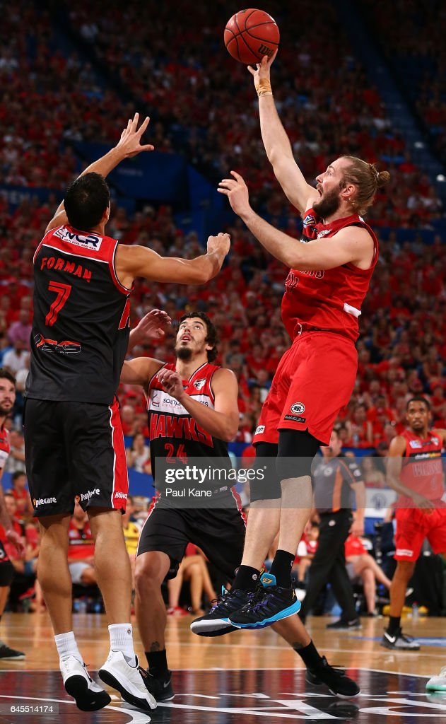 Jesse Wagstaff of the Wildcats puts a shot up against Oscar Forman of the Hawks during game one of the NBL Grand Final series between the Perth Wildcats and the Illawarra Hawks at Perth Arena on February 26, 2017 in Perth, Australia.