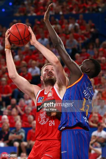 Jesse Wagstaff of the Wildcats puts up a shot against Majok Deng of the 36ers during the round 17 NBL match between the Perth Wildcats and the...