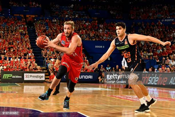 Jesse Wagstaff of the Wildcats runs the ball up court during the round 18 NBL match between the Perth Wildcats and the Cairns Taipans at Perth Arena...