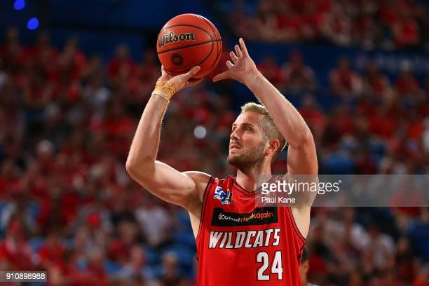 Jesse Wagstaff of the Wildcats shoots a free throw during the round 16 NBL match between the Perth Wildcats and the New Zealand Breakers at Perth...