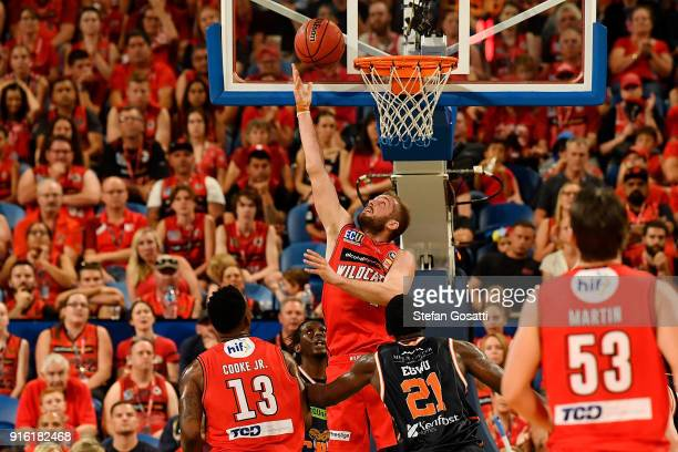 Jesse Wagstaff of the Wildcats shoots for the basket during the round 18 NBL match between the Perth Wildcats and the Cairns Taipans at Perth Arena...