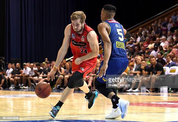 Jesse Wagstaff of the Wildcats takes on the defence during the round 14 NBL match between the Brisbane Bullets and the Perth Glory at Brisbane...