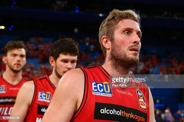 Jesse Wagstaff of the Wildcats walks from the court after being defeated during game two of the NBL Semi Final series between the Adelaide 36ers and...