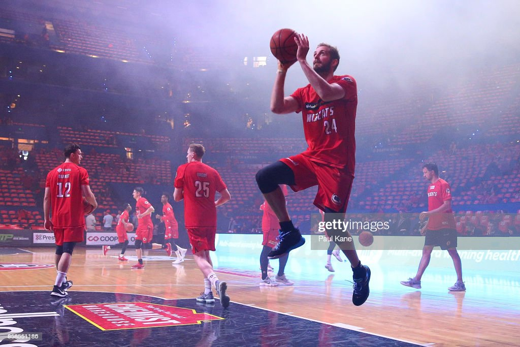 Jesse Wagstaff of the Wildcats warms up before the round one NBL match between the Perth Wildcats and the Brisbane Bullets at Perth Arena on October 7, 2017 in Perth, Australia.