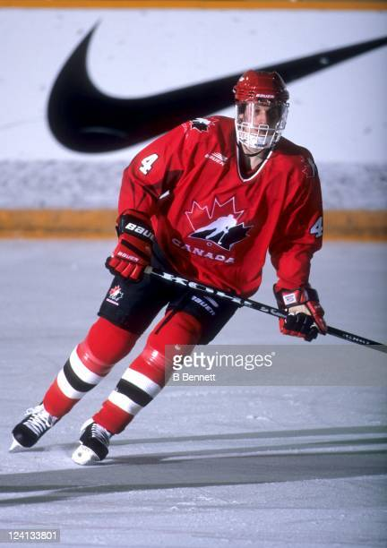Jesse Wallin of Team Canada skates on the ice during the 1998 World Junior Championships in December 1997 in Helsinki Finland