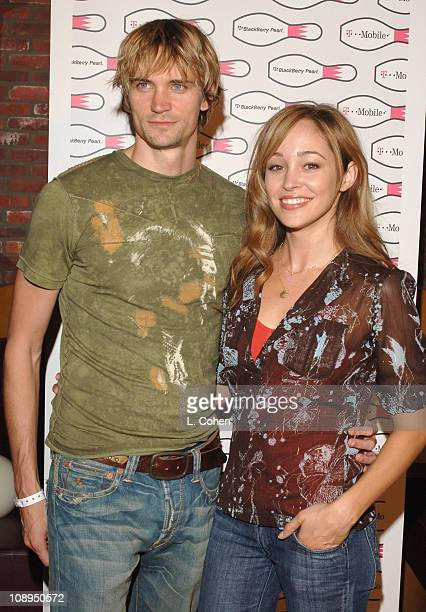 Jesse Warren and Autumn Reeser during TMobile Launches The New BlackBerry Pearl with a Night of Bowling for Charity Red Carpet at Lucky Strike Lanes...
