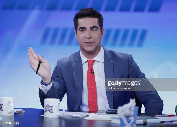 Jesse Watters host of The Five interviews Jenna Bush Hager and Barbara Bush during The Five at Fox News Studios on November 13 2017 in New York City