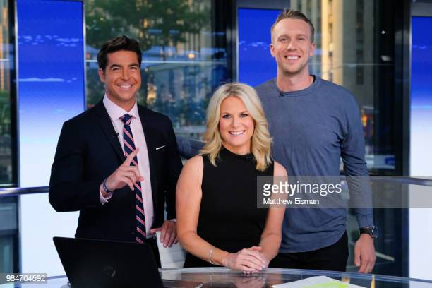 Jesse Watters Martha MacCallum and Philadelphia Eagles Super Bowl MVP QB Nick Foles pose together for a photo during The Story with Martha MacCallum...