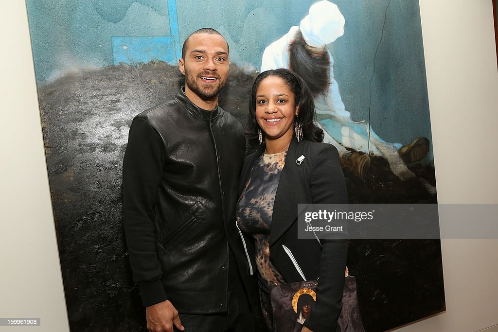 Jesse Williams and Aryn Drakelee-Williams attend the Art Los Angeles Contemporary Reception at the home of Gail and Stanley Hollander on January 23, 2013 in Los Angeles, California.