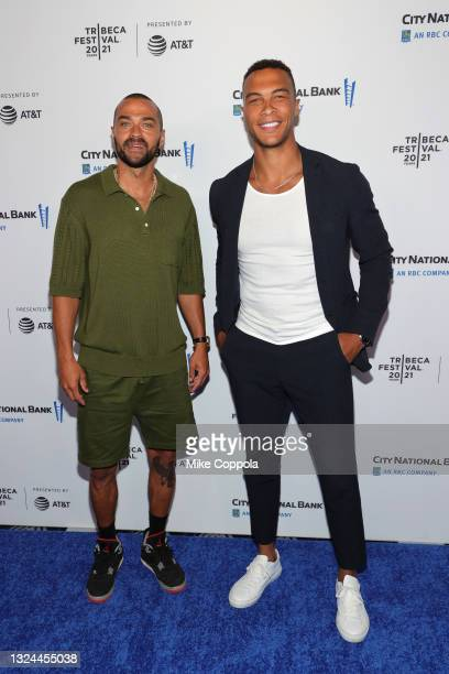 """Jesse Williams and Dale Moss attend the """"Untitled: Dave Chappelle Documentary"""" Premiere during the 2021 Tribeca Festival at Radio City Music Hall on..."""