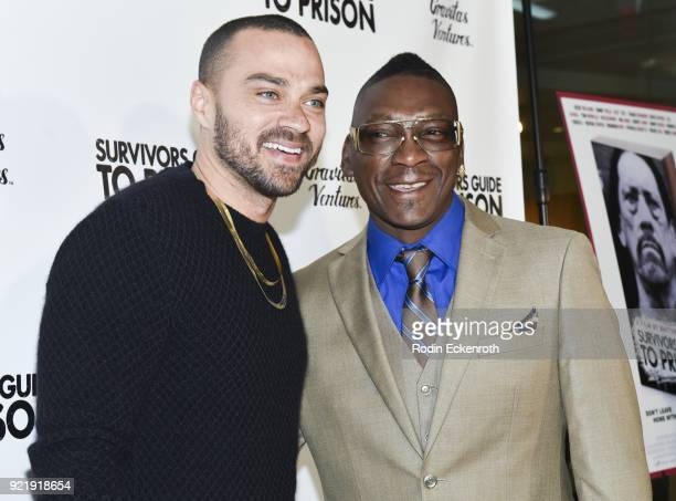 Jesse Williams and Reggie Cole attend the premiere of Gravitas Pictures' 'Survivors Guide To Prison' at The Landmark on February 20 2018 in Los...