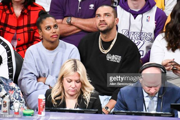 Jesse Williams and Taylour Paige attend a basketball game between the Los Angeles Lakers and the Los Angeles Clippers at Staples Center on December...