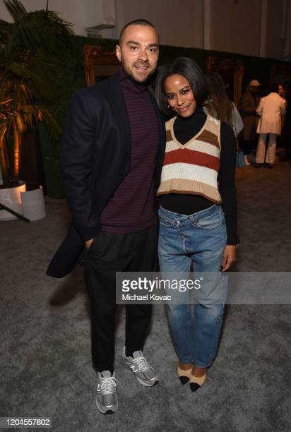 Jesse Williams and Taylour Paige attend Grey Goose Toasts To A Year Of Victorious Filmmaking at The MACRO PreOscars Party at Fig Olive on February 06...