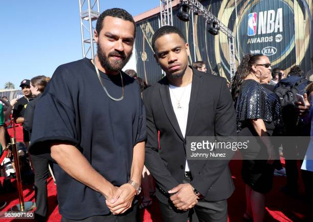 Jesse Williams and Tristan Wilds attend 2018 NBA Awards at Barkar Hangar on June 25 2018 in Santa Monica California
