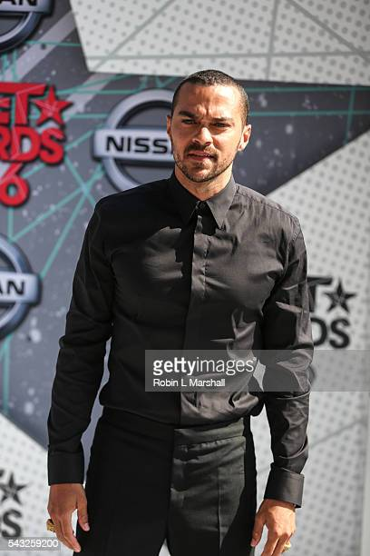 Jesse Williams attends the 2016 BET Awards Red Carpet at Microsoft Theater on June 26 2016 in Los Angeles California