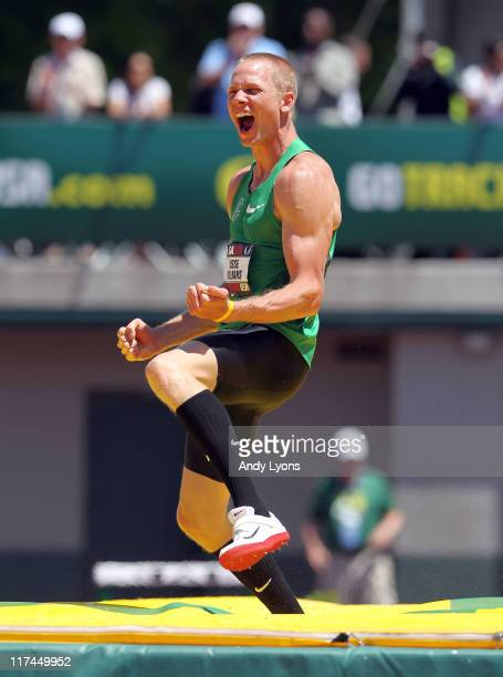 Jesse Williams celebrates during the Men's high jump during the 2011 USA Outdoor Track & Field Championships at Hayward Field on June 26, 2011 in...
