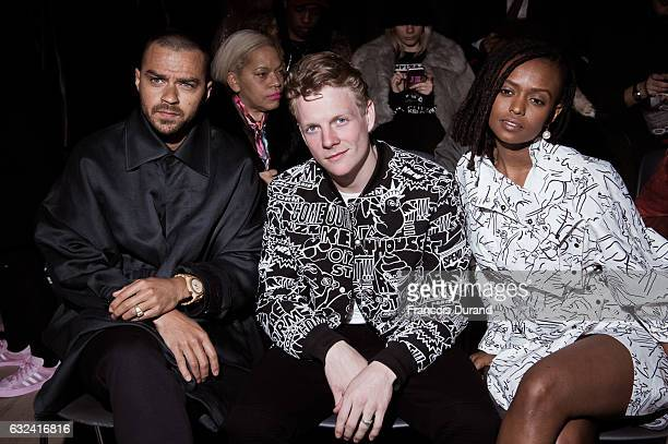 Jesse Williams Patrick Gibson and Kelela attend the Kenzo Menswear Fall/Winter 20172018 show as part of Paris Fashion Week on January 22 2017 in...