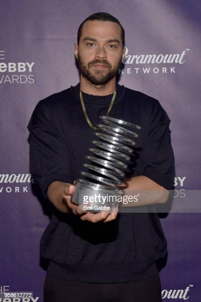 Jesse Williams poses with an award backstage at The 22nd Annual Webby Awards at Cipriani Wall Street on May 14 2018 in New York City