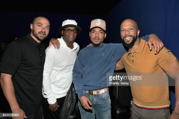 Jesse Williams Samuel L Jackson Chance The Rapper and Common attend XQ Super School Live presented by EIF at Barker Hangar on September 8 2017 in...