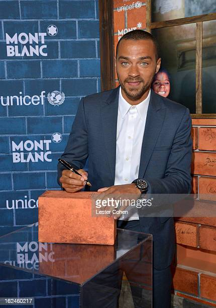 Jesse Williams wearing Montblanc TimeWalker TwinFly Chronograph Titanium attends a PreOscar charity brunch hosted by Montblanc and UNICEF to...
