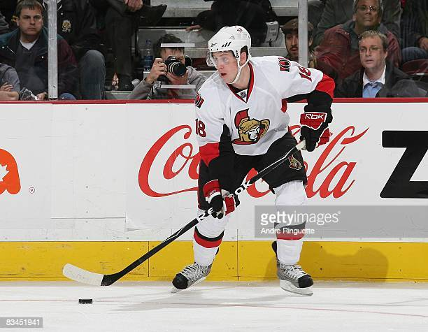 Jesse Winchester of the Ottawa Senators stickhandles the puck against the Florida Panthers at Scotiabank Place on October 22 2008 in Ottawa Ontario...
