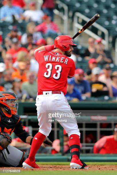 Jesse Winker of the Cincinnati Reds bats during a Spring Training game against the San Francisco Giants on Tuesday February 26 2019 at Goodyear...