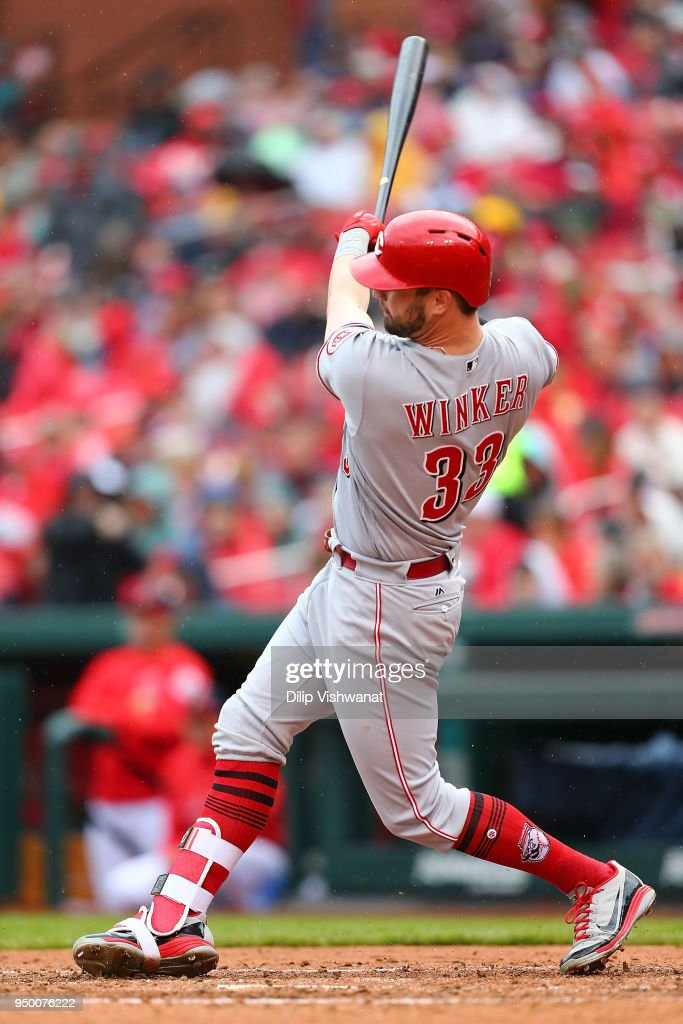 Jesse Winker #33 of the Cincinnati Reds hits an RBI double against the St. Louis Cardinals in the sixth inning of the St. Louis Cardinals hits a at Busch Stadium on April 22, 2018 in St. Louis, Missouri.