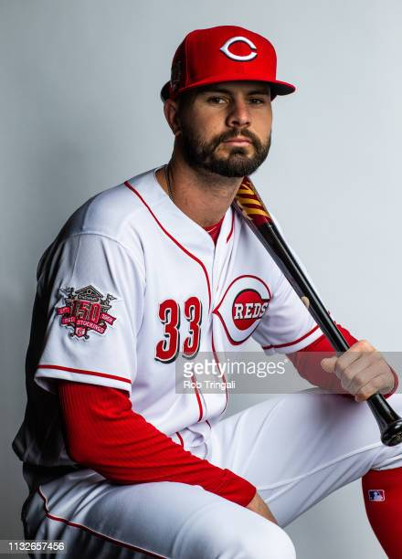 Jesse Winker of the Cincinnati Reds poses for a portrait at the Cincinnati Reds Player Development Complex on February 19, 2019 in Goodyear, Arizona.