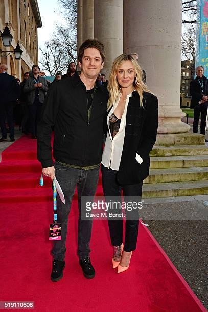 Jesse Wood and Fearne Cotton attend a private view of 'The Rolling Stones Exhibitionism' at The Saatchi Gallery on April 4 2016 in London England