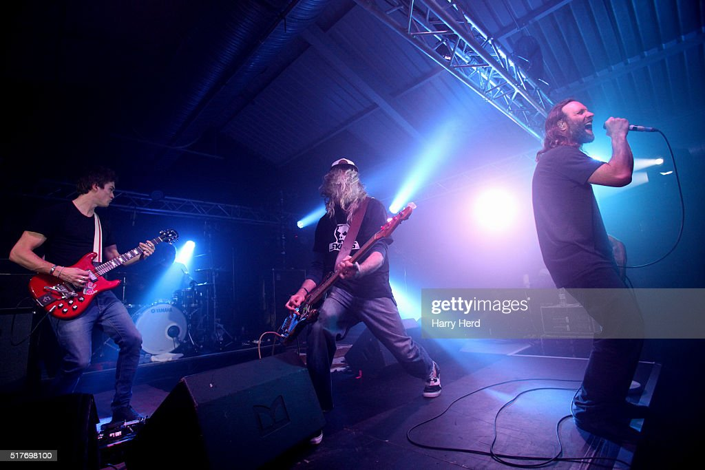 Jesse Wood, Dominic Greensmith, Jack Bessant and Gary Stringer of Reef perform at Engine Rooms on March 26, 2016 in Southampton, England.