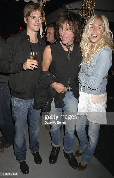 Jesse Wood musician Jeff Beck and partner attend the Rolling Stones after show party at Ronnie Wood's home on August 20 in Kingston England