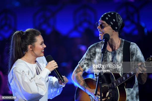 Jesse y Joy perform on stage during Univision's 'Premios Juventud' 2017 Celebrates The Hottest Musical Artists And Young Latinos ChangeMakers at...