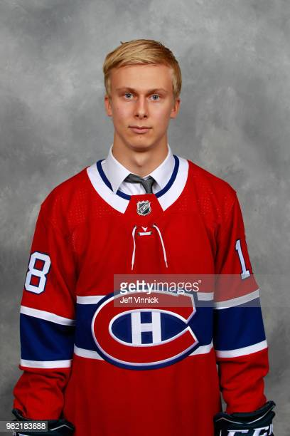 Jesse Ylonen poses for a portrait after being selected 35th overall by the Montreal Canadiens during the 2018 NHL Draft at American Airlines Center...