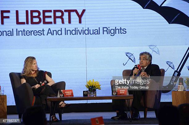 Jesselyn Radack and Harish Salve during the India Today Conclave 2014 in New Delhi