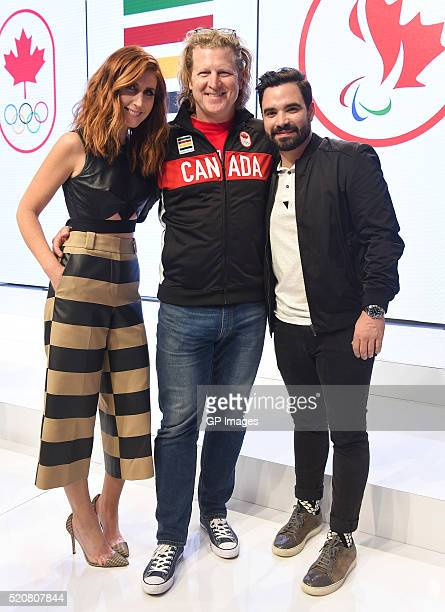 Jessi Cruickshank Curt Harnett and Alexandre Despatie attend the Hudson's Bay Company Launch of the Team Canada Collection For Rio 2016 at the Art...