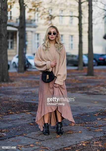 Jessi Quednau wearing Rayban round sunglasses pastel light orange HM knit jumper sweater a pastel red dress Asos black ankle boots Topshop black...