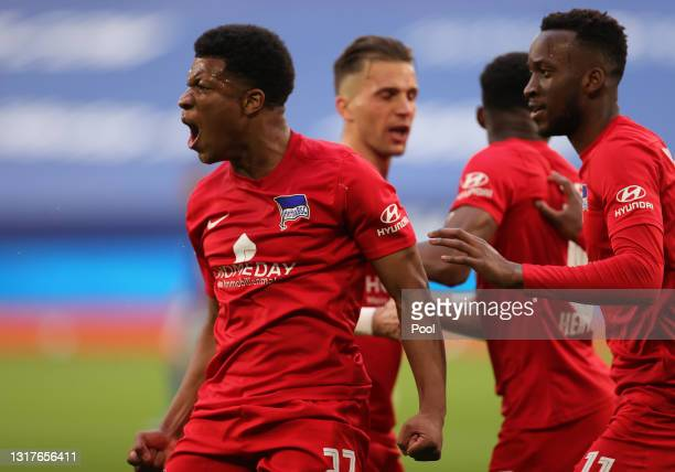 Jessic Ngankam of Hertha BSC celebrates after scoring their side's second goal during the Bundesliga match between FC Schalke 04 and Hertha BSC at...