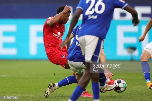 Jessic Ngankam of Hertha BSC scores their side's second goal during the Bundesliga match between FC Schalke 04 and Hertha BSC at Veltins-Arena on May...