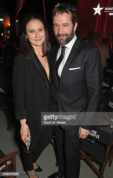 Jessica Adams and James Purefoy attend a champagne reception at the London Evening Standard British Film Awards at Television Centre on February 7...