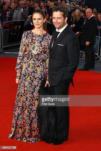 """Jessica Adams and James Purefoy attend the UK Premiere or """"High-Rise"""" at Odeon Leicester Square on October 9, 2015 in London, England."""
