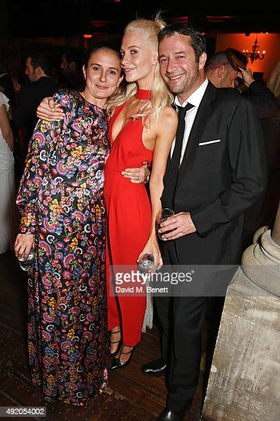 Jessica Adams, Poppy Delevingne and James Purefoy attend Eva Cavalli's birthday party at One Mayfair on October 9, 2015 in London, England.