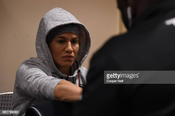 Jessica Aguilar has her hands wrapped before fighting Cortney Casey during UFC 211 at the American Airlines Center on May 13 2017 in Dallas Texas