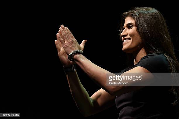 Jessica Aguilar of the United States steps onto the scale during the UFC 190 Rousey v Correia weighin at HSBC Arena on July 31 2015 in Rio de Janeiro...