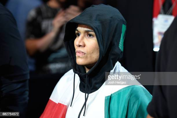 Jessica Aguilar prepares to enter the Octagon before facing Cortney Casey in their women's strawweight fight during the UFC 211 event at the American...