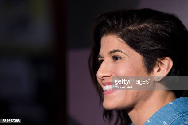 Jessica Aguilar speaks to the media during the UFC 211 Ultimate Media Day at the House of Blues Dallas on May 10 2017 in Dallas Texas